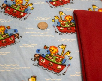 PRICES REDUCED! ~ Animal Boat Baby Blanket ~ Large 40 x 40 Flannel Blanket with Gift Bundle Options *Store Closing Sale*