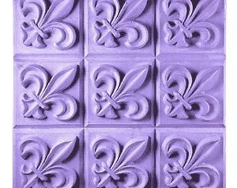 """Clear Plastic Fleur de Lis Soap Mold Tray - (9) 3.75 oz. Bars Milky Way. 3"""" x 2.167"""" x 1"""".  In Sealed Bag With Melt & Pour Instructions MW12"""