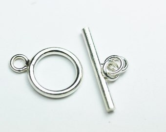 2pcs 925 Sterling Silver Jewellery findings Toggle Clasp, 13mm Circle w/5mm closed jump ring, Tbar 20mm long, Hole3mm - FDSSCS0035