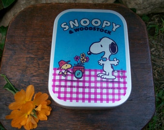 1960s Vintage Japanese Showa Period Aluminum Litho Tin Lunch Box Snoopy And Woodstock