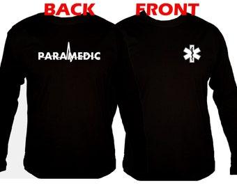 Paramedic front & back print customized silk printed medic black sleeved t-shirt