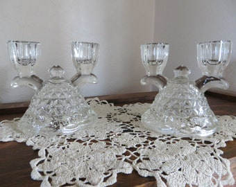 1930s Clear Glass Candelabras, Set of Two