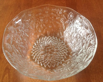 """Indiana Glass PINEAPPLE FLORAL 7"""" Salad / Fruit Serving Bowl Chintz"""