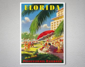 Florida Travel Poster - Poster Print, Sticker or Canvas Print