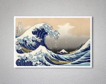The Great Wave off Kanagawa by Katsushika Hokusai - Art Print - Poster Paper, Sticker or Canvas Print