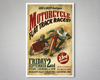 Motorcycle Flat Track Races - Vintage Motorcycle Poster - Poster Paper, Sticker or Canvas Print