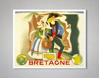 Bretagne Vintage Travel Poster, 1934 - Poster Print, Sticker or Canvas Print / Gift Idea