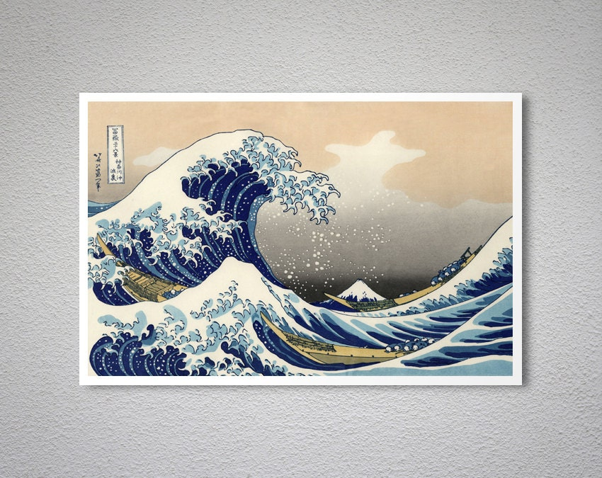 la grande vague de kanagawa par katsushika hokusai art print. Black Bedroom Furniture Sets. Home Design Ideas
