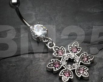Mystic Snowflake Sparkle Belly Button Ring