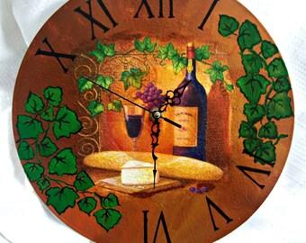 Wall Clock Wine/Kitchen Decor/Bottle of wine/Decoupage wall clock