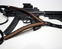 "550 Paracord Rifle Sling with Compass & Flint Firestarter Clasp 50"" Single Point Gun sling (Dark Earth / Black)"