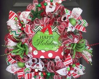 Happy Holidays Christmas Wreath, Christmas Decoration