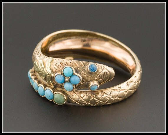 snake ring antique turquoise snake by
