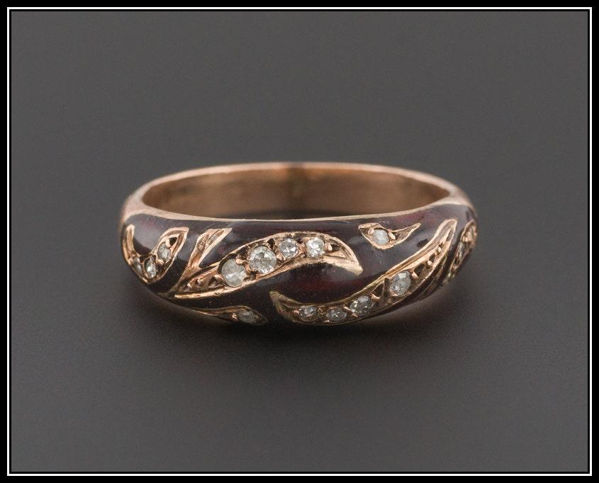 vintage enamel ring 10k gold ring vintage ring