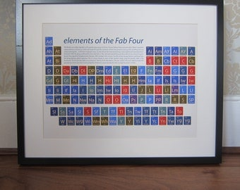 Beatles art, Beatles print, music art, music gift, Beatles periodic table, Beatles fan, Beatles gift, Beatles