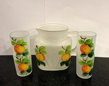 Orange Juice Set, Federal Glass, Pitcher, Four Glasses, Frosted Satin Glass, Hand Painted Oranges, Circa 1950s