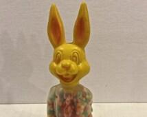 Vintage Easter Bunny Rabbit Candy Container, Plastic Rabbit, Candy Containers,  E Rosen Toys, Made in Hong Kong, Circa 1960s