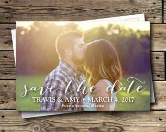 Printable Save the Date Postcard - Script - Calligraphy