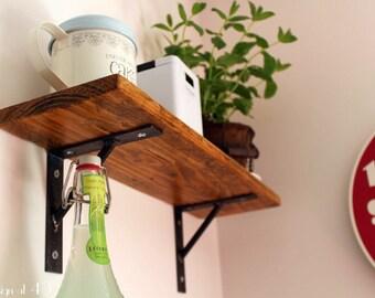 Reclaimed Wood Shelf with Steel Brackets - Reclaimed Wood Shelf - Rustic Wood Shelf - Pallet Wood Shelf - Industrial Shelf - Modern Shelf