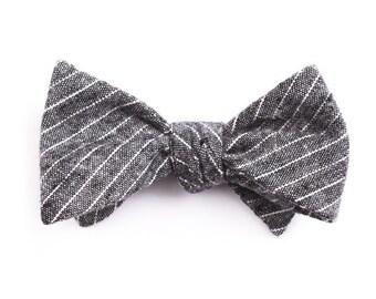 Black Small Striped Bow Tie