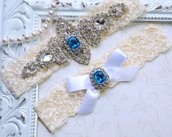 Something Blue Wedding Garter, Wedding Garter Blue, Blue Bridal Garter, Vintage Garter Set, Blue Garter Set, Royal Blue  Wedding Garter Set
