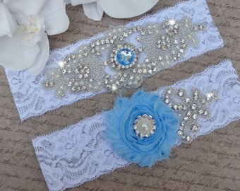 Powder Blue Wedding Garter,  Wedding Garter Set, Vintage Inspired Wedding  Garter, Bridal Garter, Garter Belt,Peach Wedding Garters