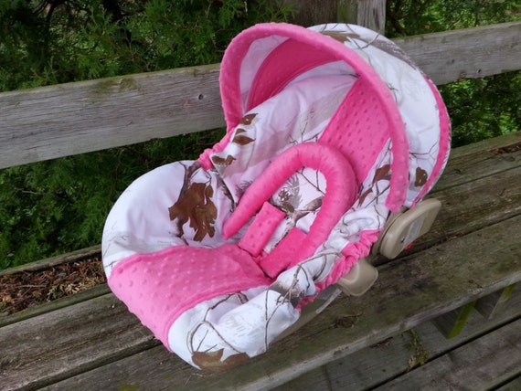 Camo Infant Car Seat Cover Realtree Snow Fabric And Hot Pink