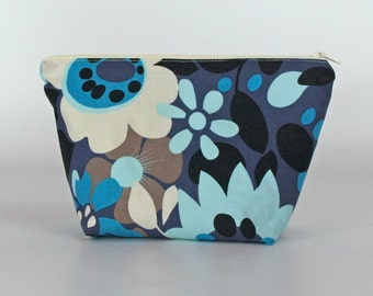 Medium blue and white retro flower print make up bag, cosmetic bag, toiletry bag, wash bag