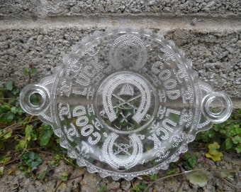 Antique early pressed pattern glass - good luck horseshoe vintage pattern glass dish - horse racing winners memorabilia pressed glass