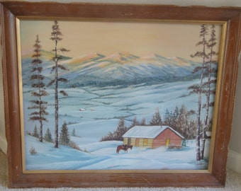 Vintage Mountain Snow Western Oil Painting on Board/Signed Claude Tucker Jr.