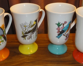 Set of 4 1950's Pedestal Bird Mugs by Santei/Japan