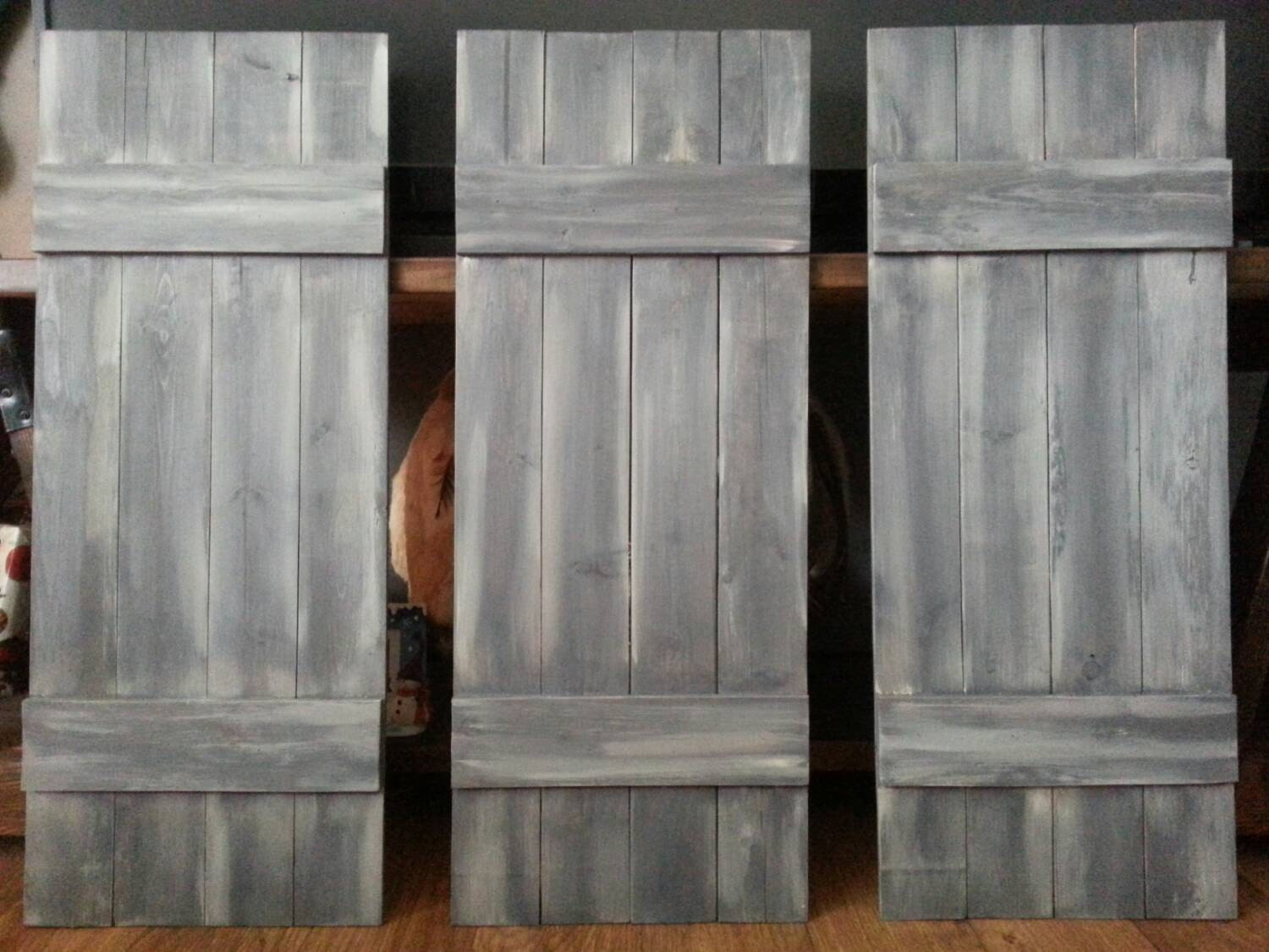 Rustic Wood King Headboard Shutter Set