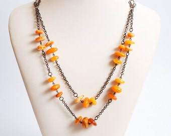 Vintage necklace, Natural Genuine Baltic amber rounded beads on solid copper chain  (DZ)