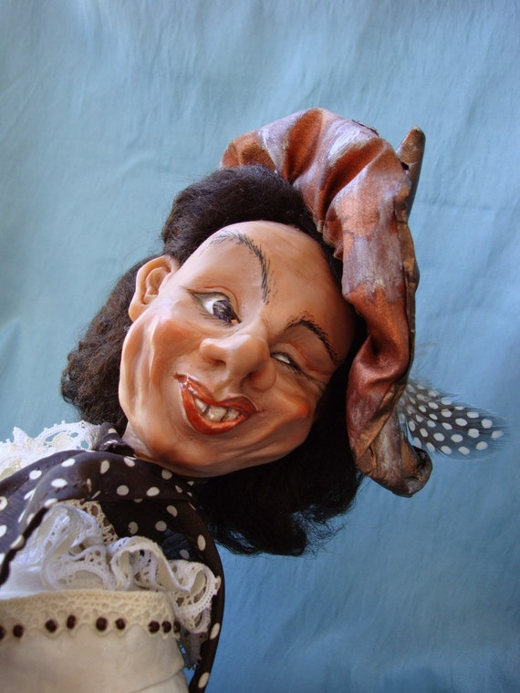 Pulcinella doll - Interior art ooak doll -Carnival character doll - Venetian masked personage - Swaying doll