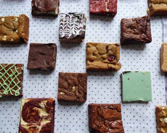 VARIETY Box (Four 3 inch squares, brownies, fudge, blondies, cookie squares)