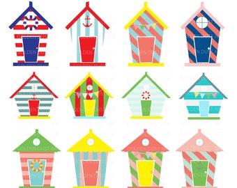 20% OFF SALE Beach Houses Digital Clip Art, Beach Houses Clip Art, Beach House Clip Art, Personal and Commercial Use