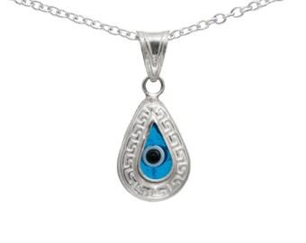 Silver Evil Eye Teardrop Pendant Necklace EVL003