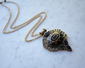 Brass and Black Onyx Vintage Medallion Necklace