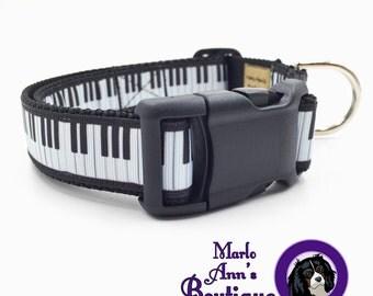 Dog Collar / Piano / Black and White / Dog Collar and Leash / Adjustable Dog Collar / Musical / Piano Keys / Keyboard