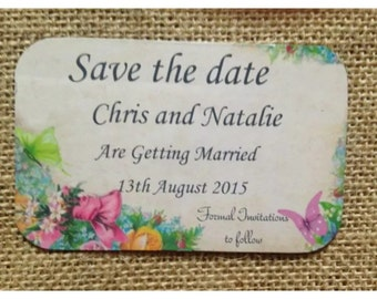 10 Shabby Chic save the date magnet tag
