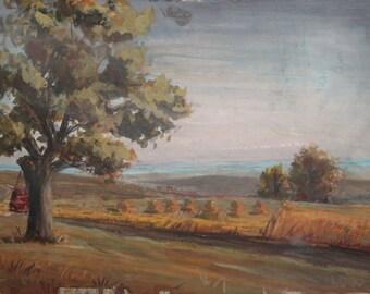 Vintage impressionist gouache painting landscape