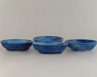 Bohemian Czech Art Deco Lapis Lazuli Glass Bowls set 4pcs.