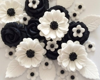 BLACK ROSE BOUQUET edible sugar paste cake decorations toppers