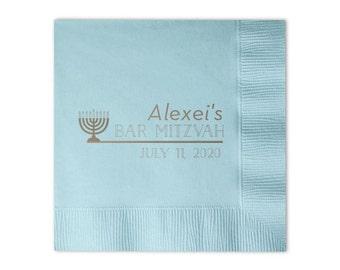 Bar Mitzvah Menorah Personalized Napkins - Set of 100 - Custom Printed Napkins, Foil Stamped Napkins, Party Favors, Birthday