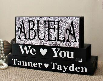 Abuela Gift - Personalized Abuela Blocks - Spanish Grandmother Gift - Christmas Present - Abuela Birthday Gift - Home Decor Blocks