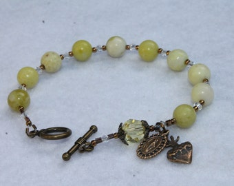 Ships Free--Bronze and Yellow Quartz Catholic Rosary Bracelet