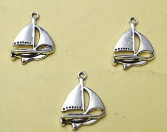 sailing boat charms - flat backed - tibetan silver - 17mm x 24mm - tibet silver charm - silver boat charm - sail boat charm