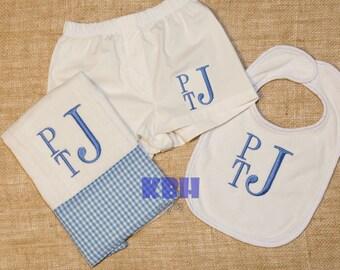 Baby boy bib, burp cloth, boxers