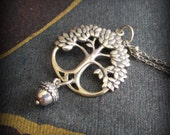 Sterling silver tree of life with dangling acorn pendant, trees, forest, family, pregnancy, motherhood  TAGT sterling silver Ready to ship