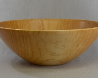 Large Hand Turned Maple Wooden Salad Bowl